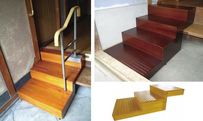 ウットリー玄関踏み台 段差分割のための切込加工