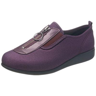 快歩主義 L117 介護靴 足囲3E パープルラメ サイズ21.5~25cm センターファスナー婦人靴
