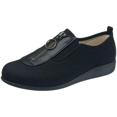 快歩主義 L117 介護靴 足囲3E ブラック サイズ21.5~25cm センターファスナー婦人靴