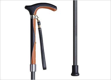 伸縮杖 軽量カーボン革巻き KSAC-LS2300C