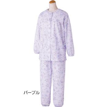 婦人 ボタンの留め外しが楽な大きめボタンキルトパジャマ 秋冬 S~LLサイズ 89779