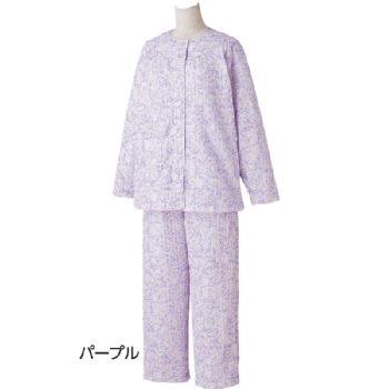 婦人 介護サポート ワンタッチテープ+腰開きキルトパジャマ 秋冬S~LLサイズ 89790