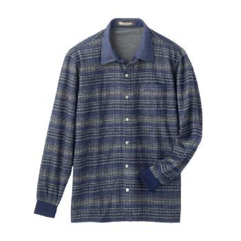 紳士 毛混スナップボタンニットシャツ 高齢者・シニア 秋冬97264