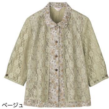 京都染プリントブラウス 7分袖レース切替アンサンブル風ブラウス 斜めボタンホール 97402