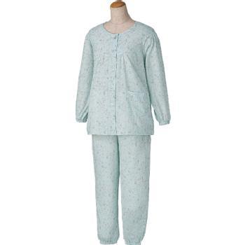 婦人 大きめボタン楊柳プチサイズパジャマ 小柄な方におすすめ M・Lサイズ 春夏 2枚組 97575