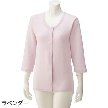 婦人 8分袖キルト背当付きワンタッチシャツ 秋冬 2枚セット 01838