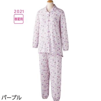 婦人介護パジャマ 大きめボタン天竺パジャマ 春夏 2枚セット 98081