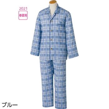 紳士介護パジャマ 大きめボタン楊柳パジャマ 春夏 2枚セット 98109