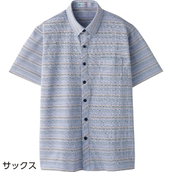 紳士 麻混斜め釦ホール半袖ニットシャツ 春夏 98463
