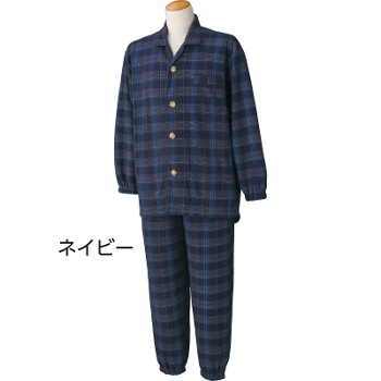 紳士介護パジャマ 大きめボタンキルトパジャマ 後ろ身頃長め 秋冬 2枚組 98609