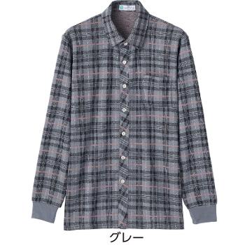 紳士 毛混斜め釦ホールニットシャツ 秋冬 98018