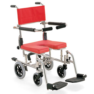 シャワー用車椅子 座面高さ調節式シャワーキャリー KS10 U字座面 カワムラサイクル