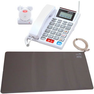 在宅高齢者向け見守りシステムQコール電話機+コードレス徘徊センサーマット KQ42540M 安心緊急通報システム