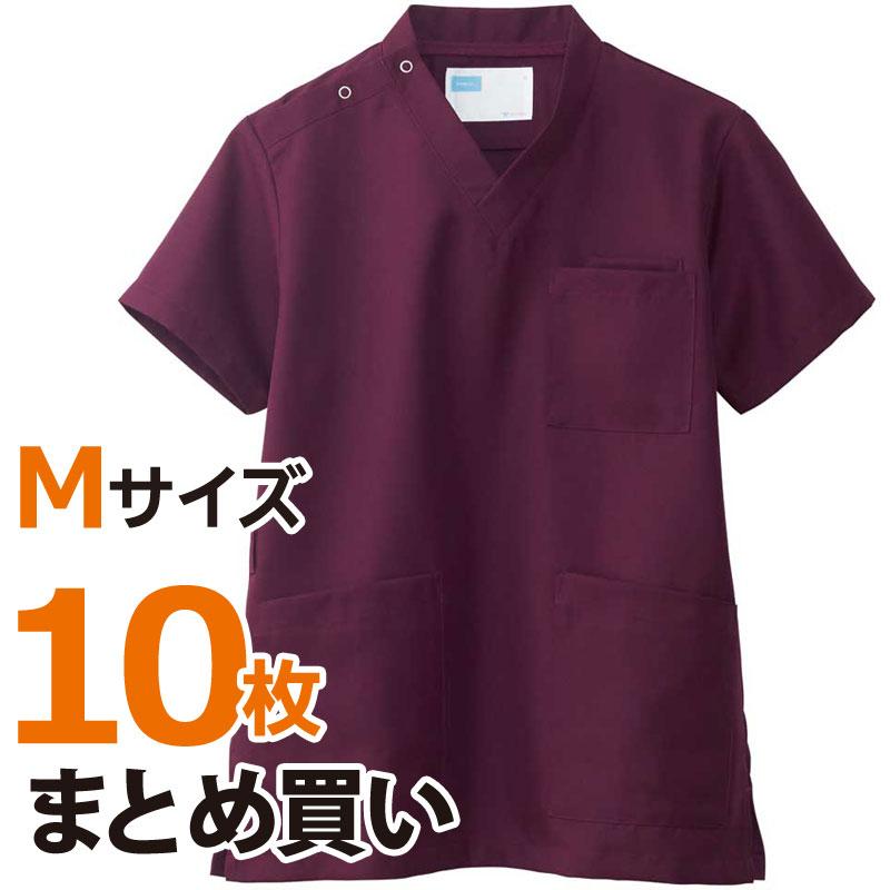 介護施設ユニフォーム 男女兼用スクラブ WH11485A トップス Mサイズ 10枚まとめ買いセット