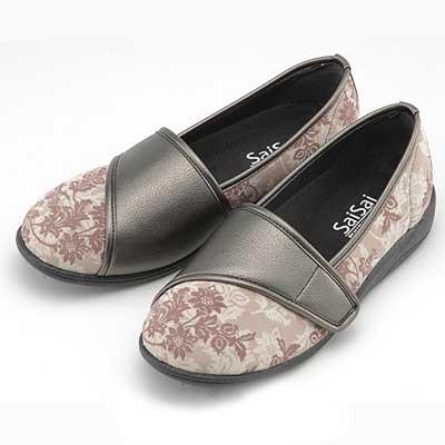 SaiSai フラワープリント W940 介護靴 クラシックベージュ 3E 21.5~26cm