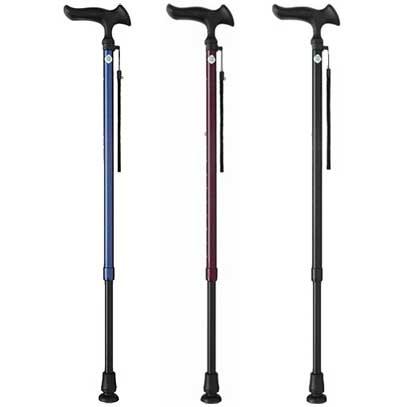 ステッキかるがもE 無地 伸縮M 細首タイプ 伸縮杖 対応身長約140~185cm