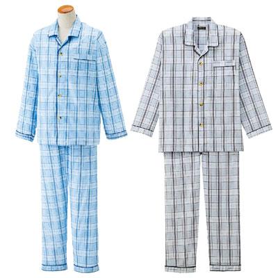 紳士ワンタッチ楊柳パジャマ 春夏介護パジャマ S~LLサイズ2枚セット 38825