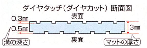 すべり止めお風呂マット ダイヤタッチのダイヤカット断面図