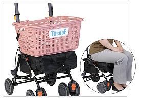 店内カゴを乗せ、<br />疲れたら椅子