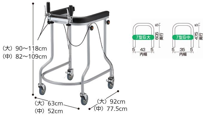 四輪歩行器 アルコー7型B 立体グリップ・ブレーキ付きサイズ