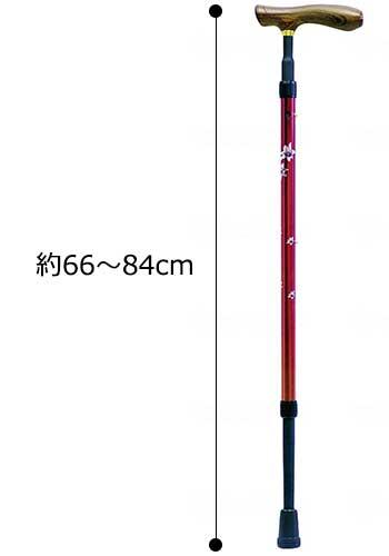 クォーターポイント 伸縮杖細首タイプの寸法図