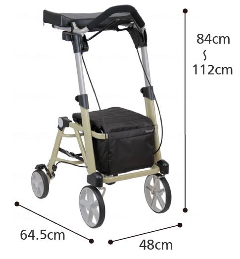 前腕支持歩行車 シトレア WAW23の寸法図