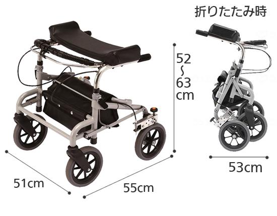 歩行補助車 ラビットミニ WA-O 超低・座面なし 歩行車の寸法図