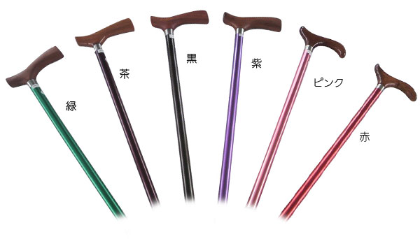 アルミ製伸縮杖 2段式 天然木グリップの説明