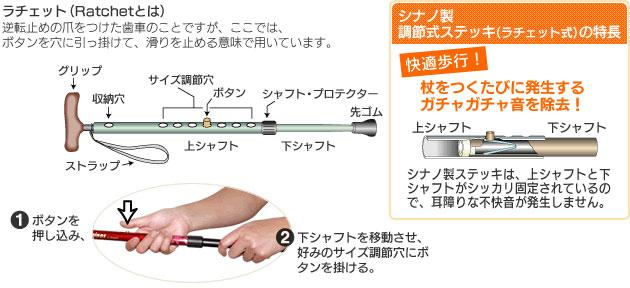 抗菌楽ーダ ドット/リーフ 伸縮杖の説明