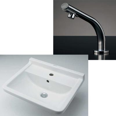 小型電気温水器(センサー水栓つき)壁掛洗面器(#DU-0300550000)セット 介護福祉現場(病院・施設)