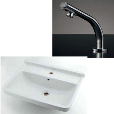 小型電気温水器(センサー水栓つき)壁掛洗面器(#DU-0300650000)セット 介護福祉現場(病院・施設)