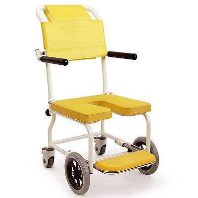 簡易シャワー車いす 低床タイプシャワーキャリー前輪8インチ KSC-2 穴あきシート カワムラサイクル
