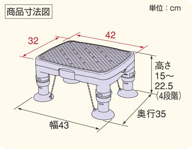 高さ調節浴槽台Rかるぴったんのサイズ