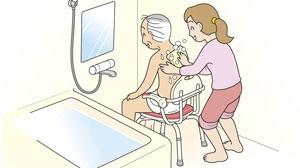 身体を洗うときも安心の座面ロック