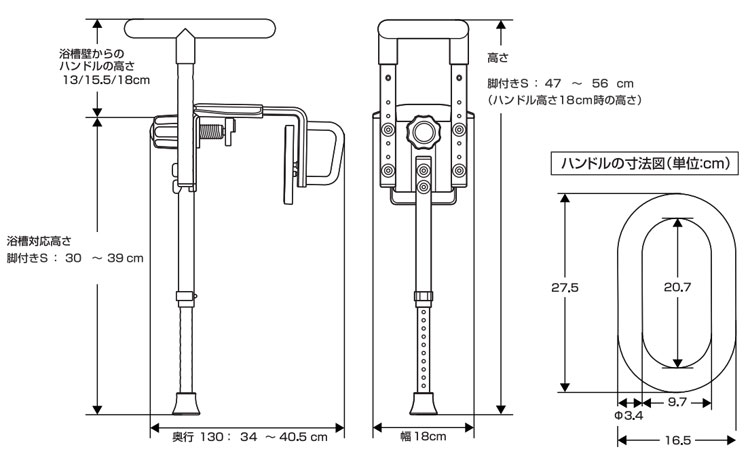 パナソニック 入浴グリップ ユクリア UB専用コンパクト130脚付S PN-L12313A・D・BRのサイズ