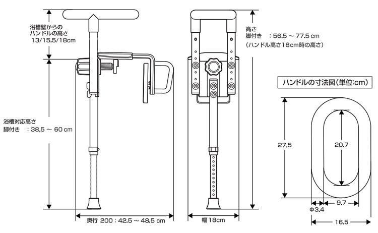 パナソニック 入浴グリップ ユクリア UB専用コンパクト200脚付 PN-L12312A・D・BR のサイズ