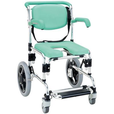 らくらく浴用キャリー 肘掛はねあげ式 パーキング付 YC-70GR シャワーキャリー・お風呂用車椅子