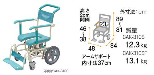 シャワーキャリー ラージキャスター サイサポートタイプ CAK-310S/CAK-310SF お風呂用車椅子 お風呂用車椅子のサイズ