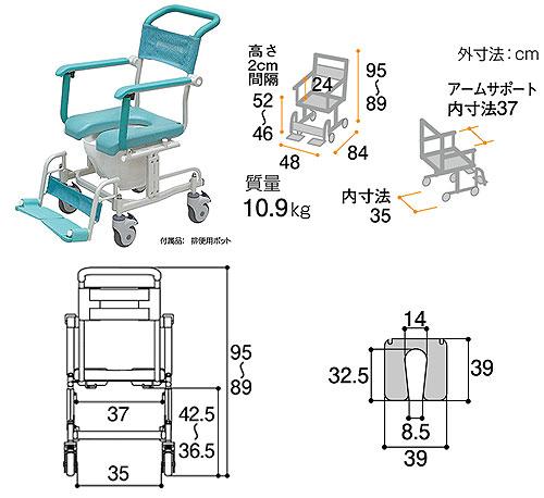 シャワーキャリー トイレットタイプ 4輪自由車 CAK-410 お風呂・トイレ用車椅子のサイズ