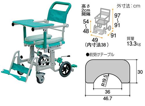 シャワーキャリー フロントレストタイプ アルミ製 CAK-600 お風呂・トイレ用車椅子のサイズ