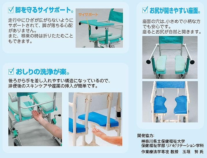 シャワーキャリー フロントレストタイプ アルミ製 CAK-600 お風呂・トイレ用車椅子