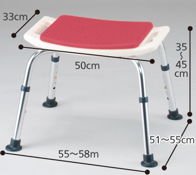 愛ふるシャワーベンチ 一般タイプ 背なし介護用風呂椅子のサイズ