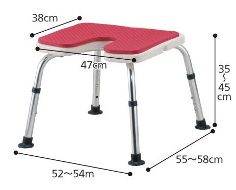 愛ふるシャワーベンチ U字型タイプ 背なし介護用風呂椅子 のサイズ