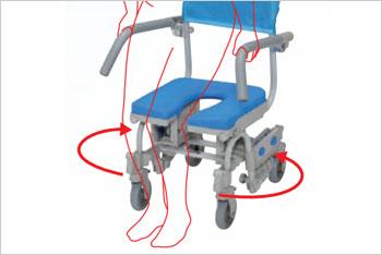ウチエ シャワーラク四輪自在V シャワーキャリー・入浴用車椅子