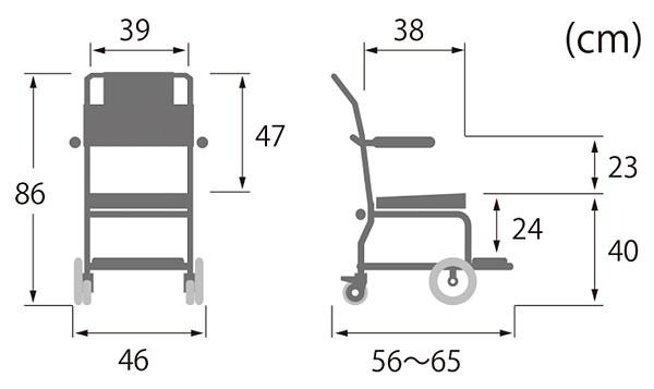 簡易シャワー車いす 低床タイプシャワーキャリー前輪8インチ KSC-2/ST カワムラサイクルの寸法図