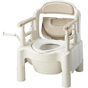アロン化成・安寿 ポータブルトイレちびくまくんFX-CP 消臭消耗品・便座カバー付