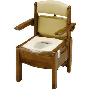 木製ポータブルトイレ きらくFJY やわらか便座 脱臭器付