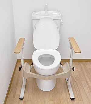 安寿 洋式トイレ用フレームS-はねあげR-2 木製ひじ掛け