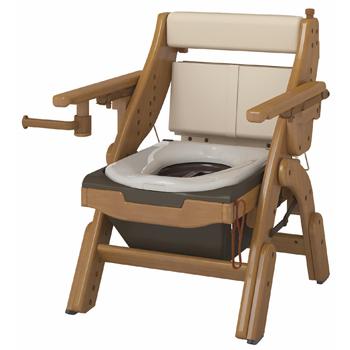 安寿 折りたたみ家具調トイレ 標準便座 ポータブルトイレ