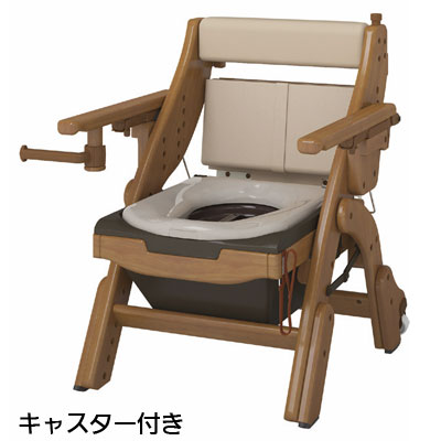 安寿 折りたたみ家具調トイレ ソフト便座キャスター付き ポータブルトイレ
